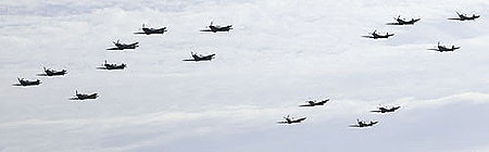 16 Spitfires flying over Duxford airfield - 70th Anniversary Battle of Britain Airshow